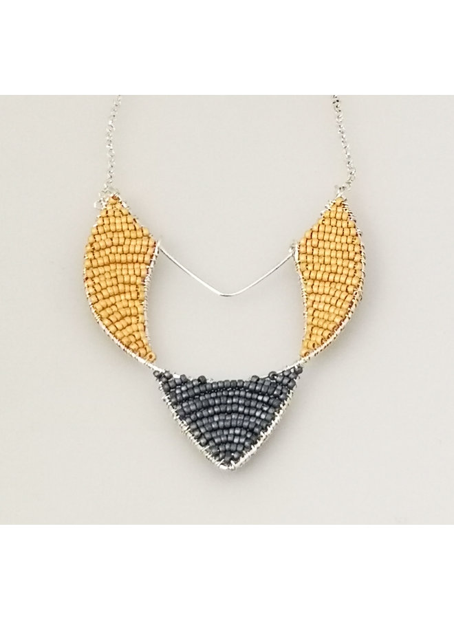 Geometric Arrow Glass bead & silver pendant 39