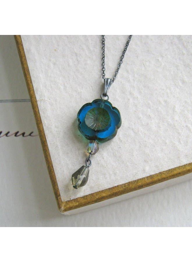 Bohemia Peacock Glass bead Pendant  oxodised silver 36