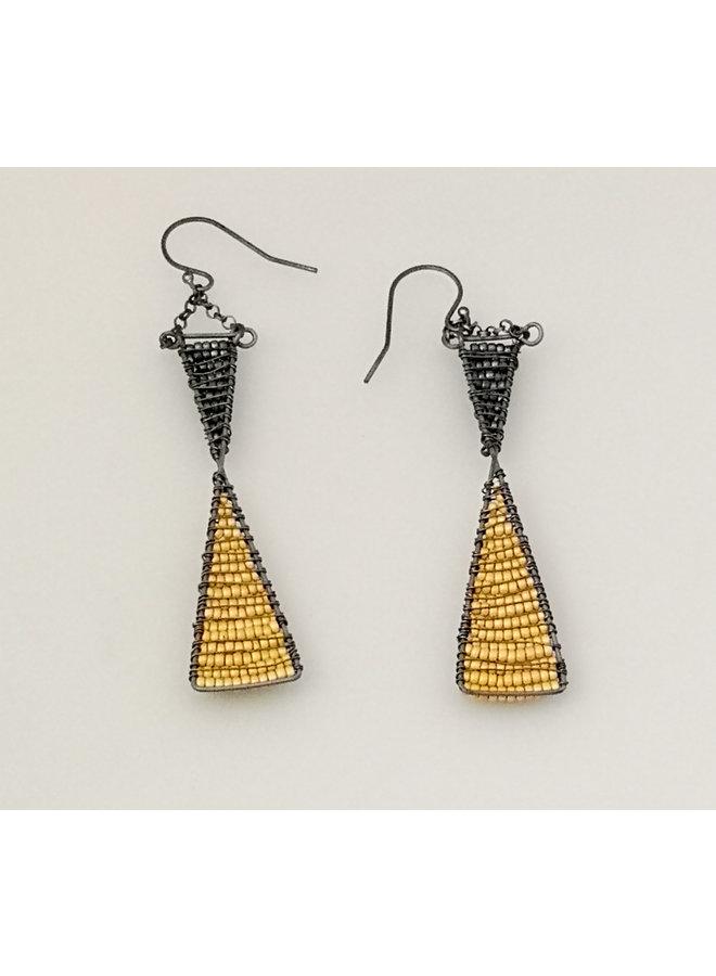Geometrischer Schnitt Glasperlen & Ohrringe aus oxidiertem Silber 41
