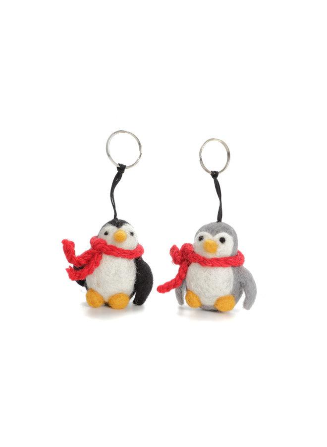 Penguin Grey or Black  Xmas  Felt Key Ring132