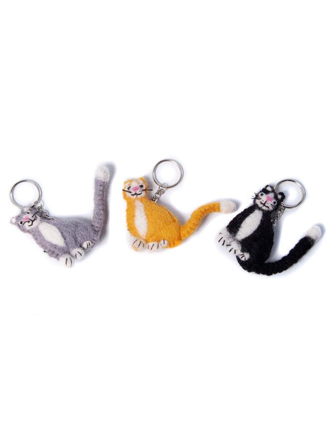 Katzen-Ingwer, Filz-Schlüsselanhänger in Schwarz oder Grau135