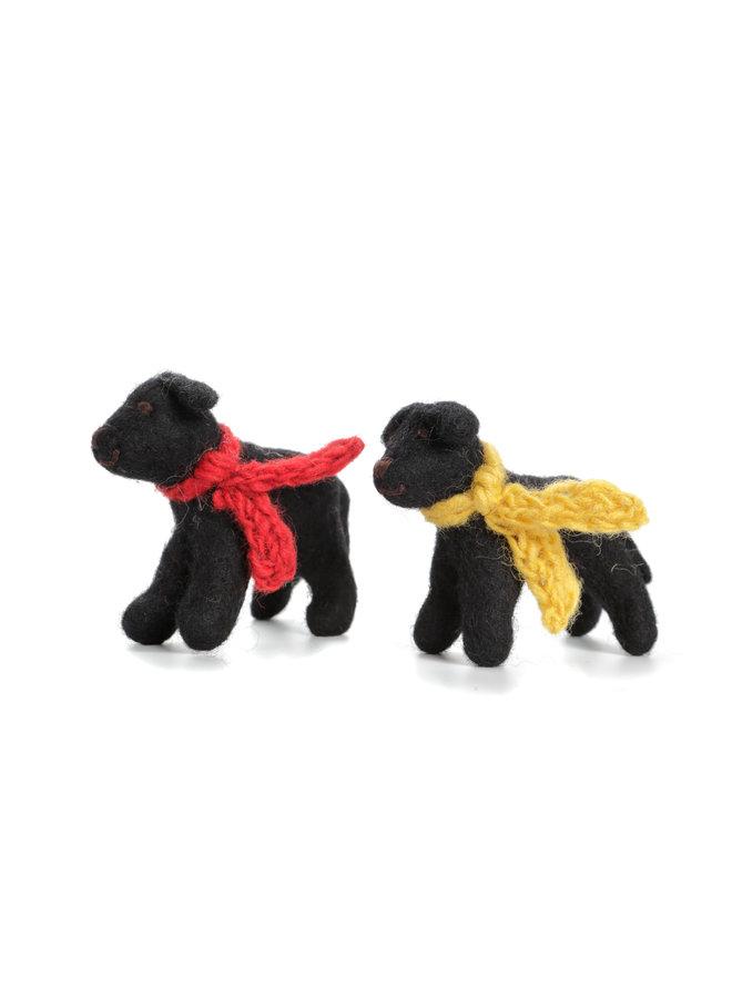 Black Labrador Yellow or Red Scarf Felt Toy 137
