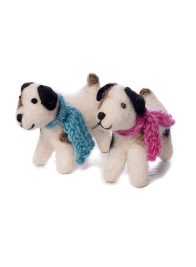 Jack Russell Dog Blue or Pink Scarf Felt Toy 138