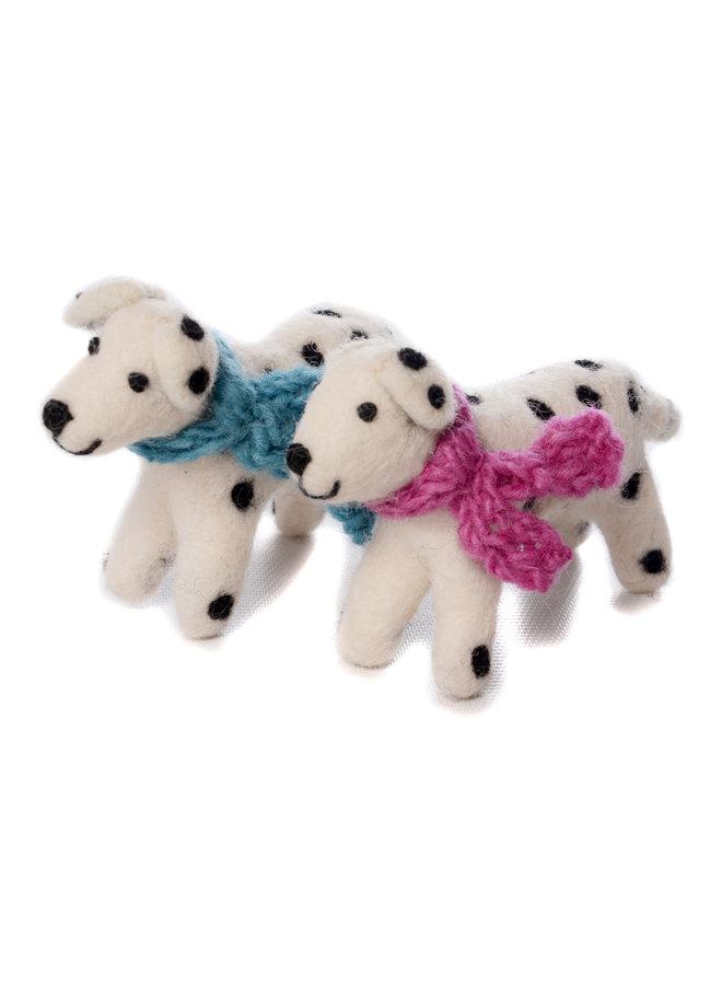 Dalmation Dog Blue or Pink Scarf Felt Toy 138