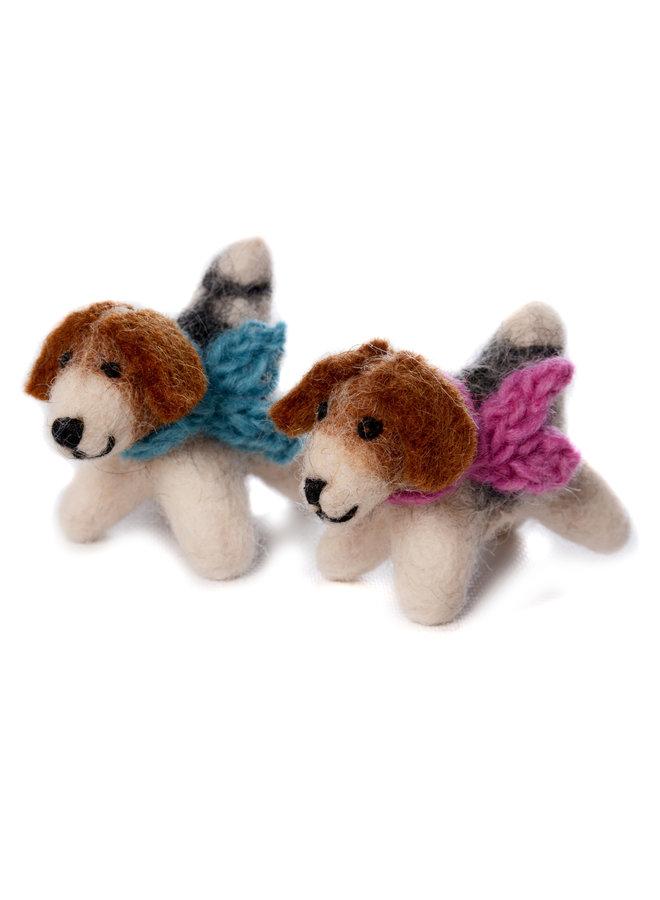 Fox Terrier Mini Dog Blue or Pink Scarf Felt Toy 138