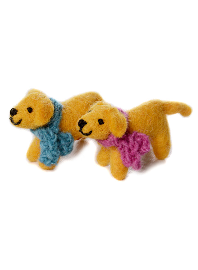 Golden Labrador Mini Dog Blue or Pink Scarf Felt Toy 141