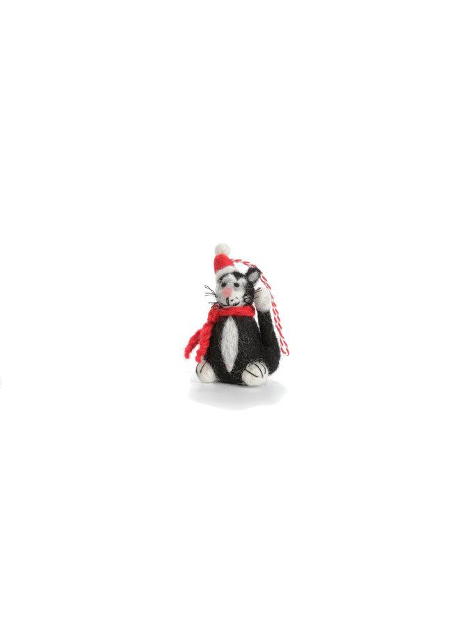 Black and White Cat with Hat Xmas  Felt Decoration 129