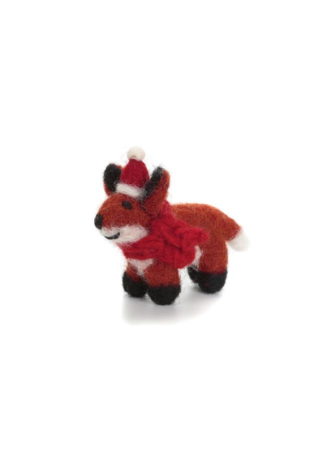 Fuchs mit Mütze und Schal Mini Weihnachtsfilzdekoration 130