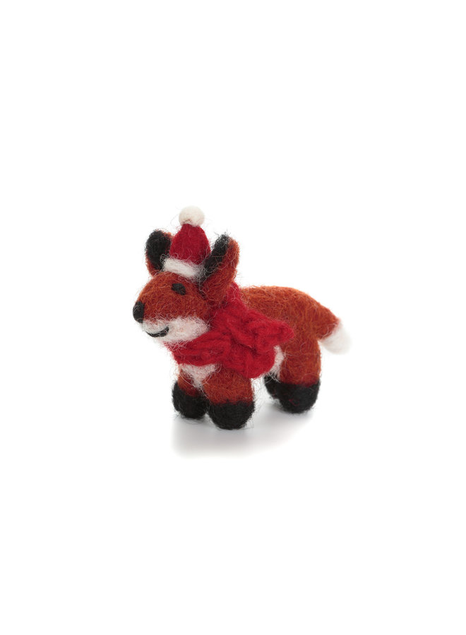 Fox with Hat and Scarf Mini  Xmas  Felt Decoration 130
