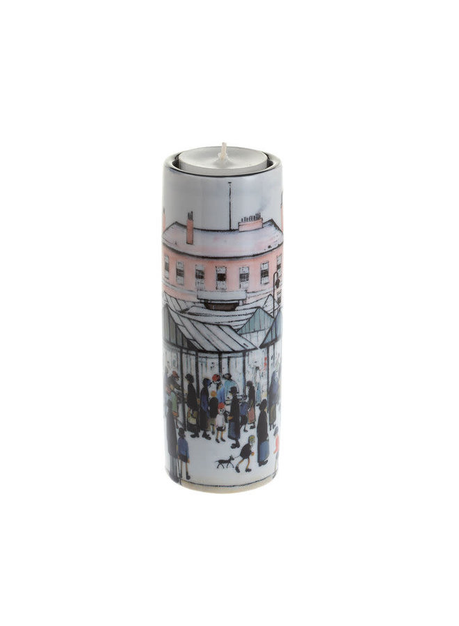 Lowry Market Scene Tea Light Holder Ceramic