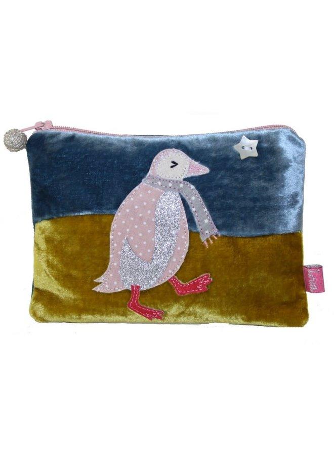 Penguin Applique Velvet Geldbörse mit Reißverschluss Blau / Senf 296