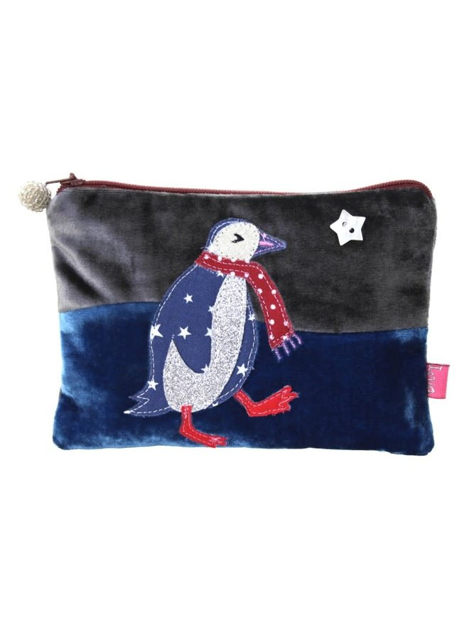 Penguin Applique Velvet Geldbörse mit Reißverschluss Blau / Grau 295