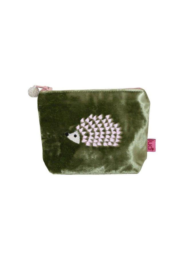 Igel Mini Geldbörse Samt Oliv / Pink 350