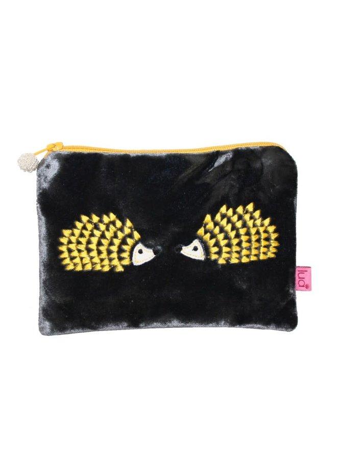 Hedgehog Embroidered Velvet Reißverschlusstasche Grau / Gelb 292