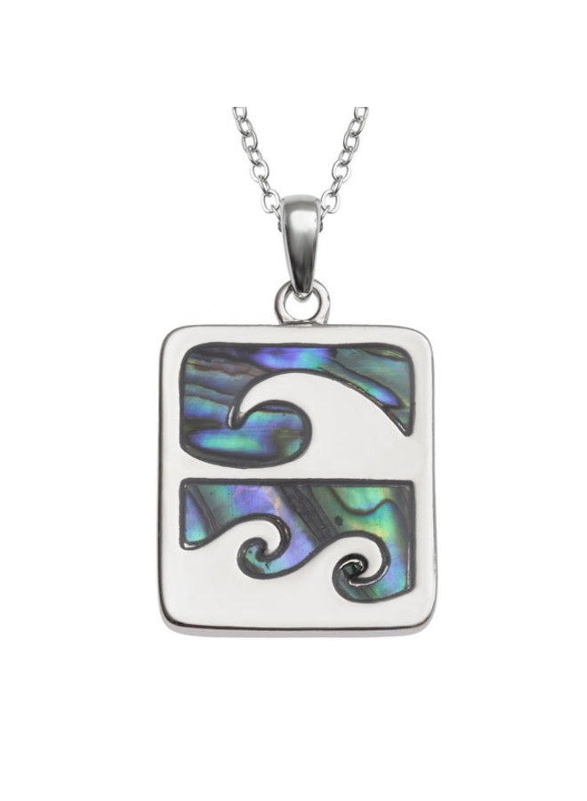 Wave Crest  Inlaid Paua shell  necklace only 326
