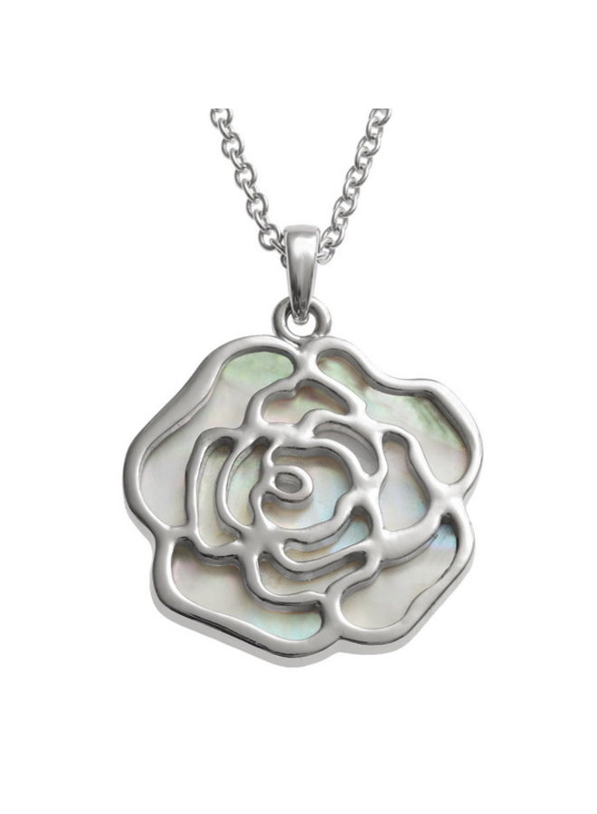 Rose White  Inlaid Paua shell  necklace 462