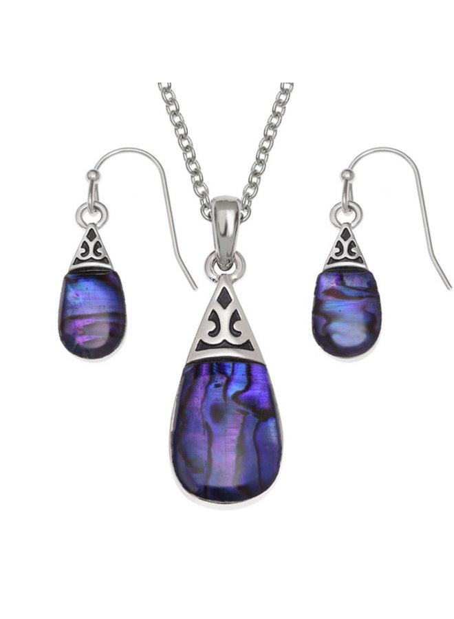 Purple Drop  Inlaid Paua shell  necklace  only 725