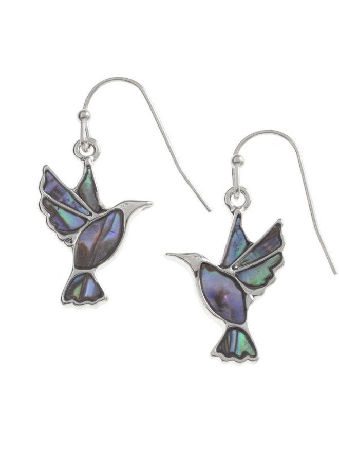 Hummingbird Inlaid Paua shell  Drop Earrings T201