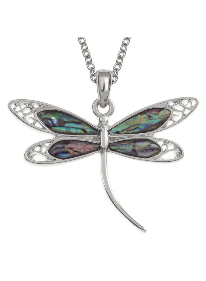 Dragonfly Filigree  Inlaid Paua shell  necklace only 044