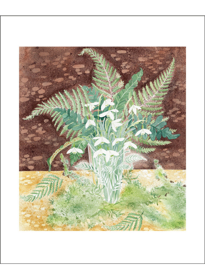 Snowdrops and Ferns card by Angie Lewin