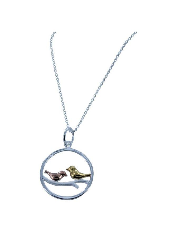 Zwei Singvögel Roségold und Vermeil Gold Halskette 70