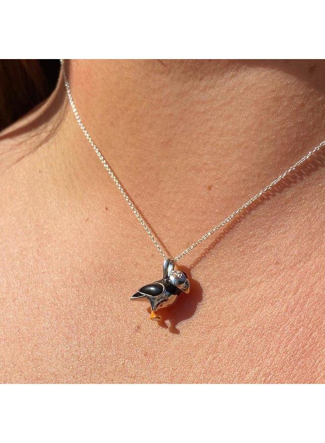 Papageientaucher Silber und Emaille Halskette 76