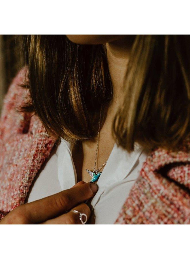 Kolibri Silber und Emaille Halskette 75