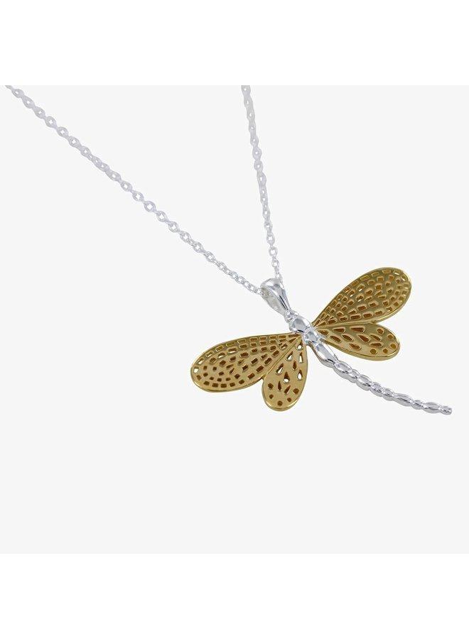 Libelle Silber und Gold Halskette 80