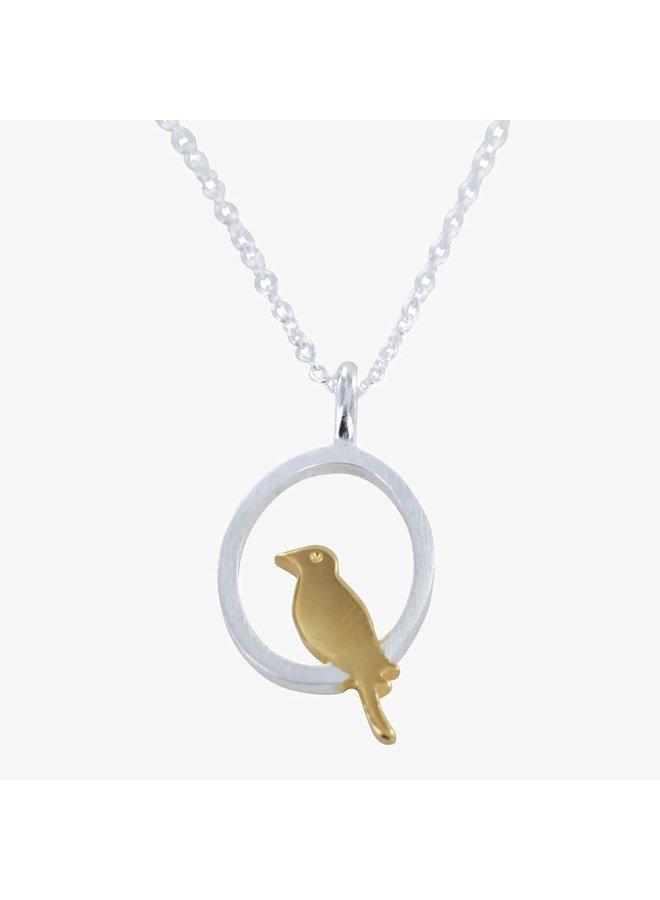 Vogel hockend Silber und Gold Halskette 82