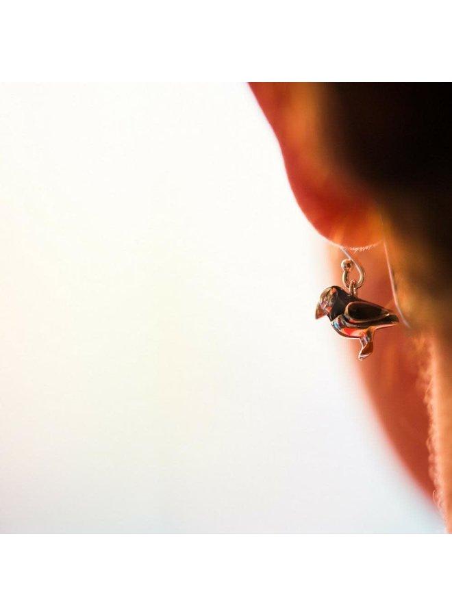 Papageientaucher Silber und Emaille Ohrringe 86