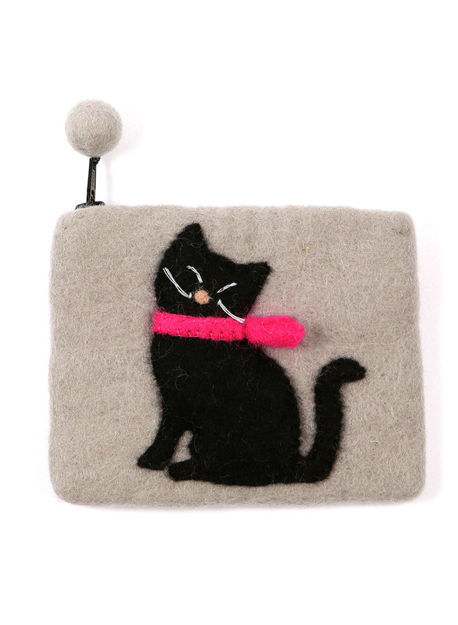 Black Cat Purse Felt 09