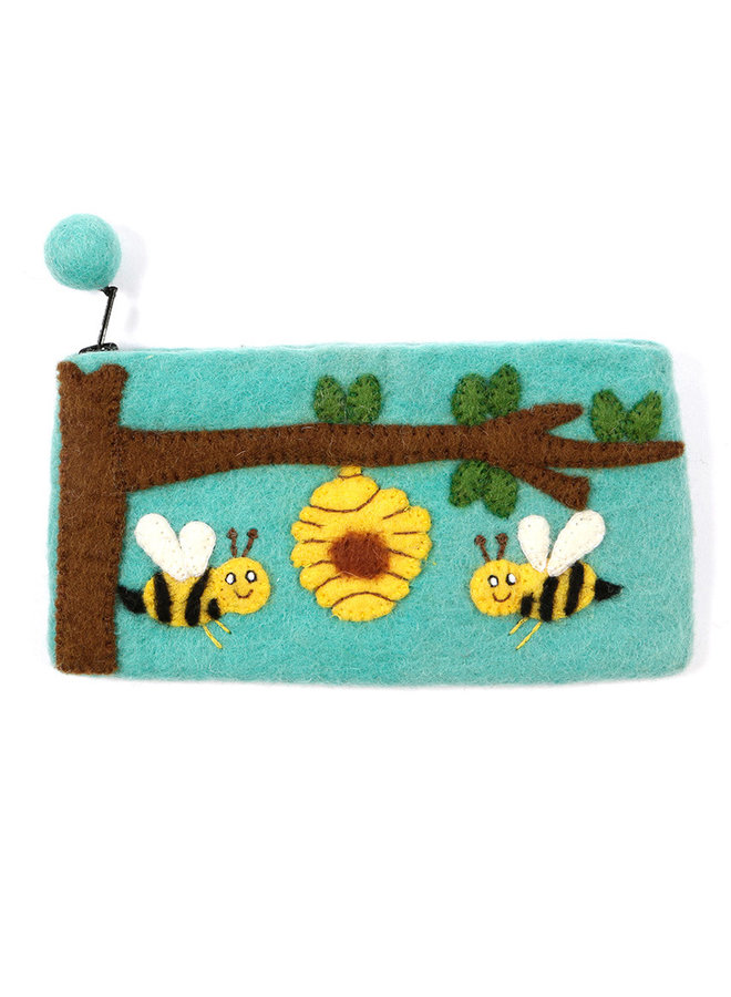 Bees with Hive in Tree Pencil Case Felt 25