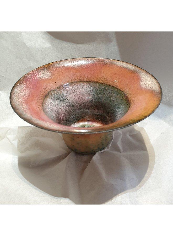 Enamelled Flared Copper Bowl unique 173