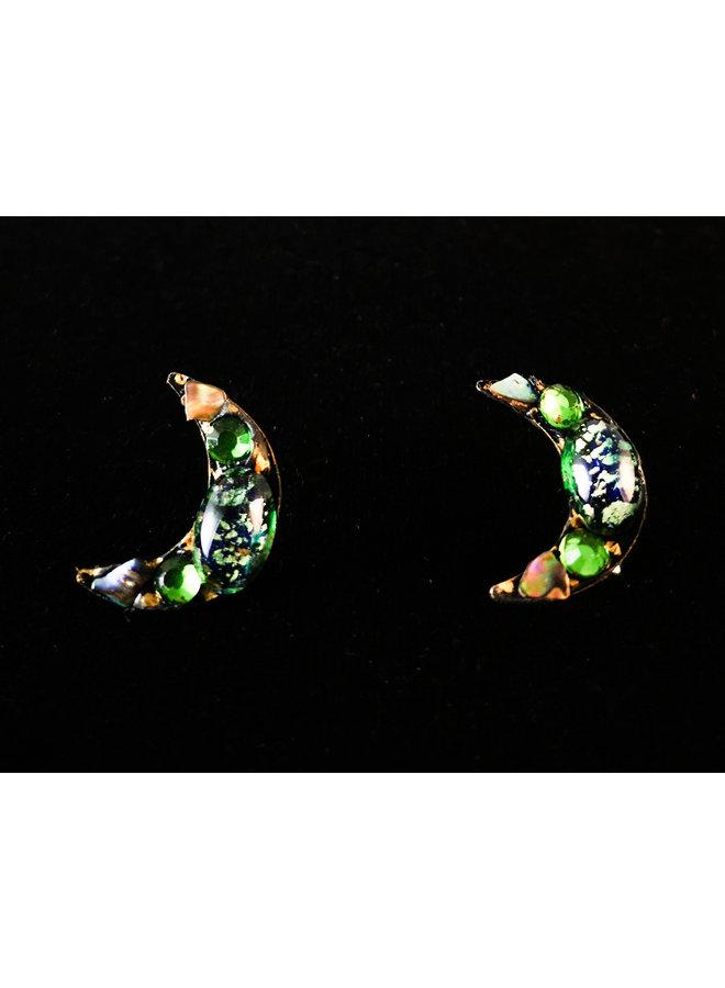 Crescent Greem stud Earrings 200