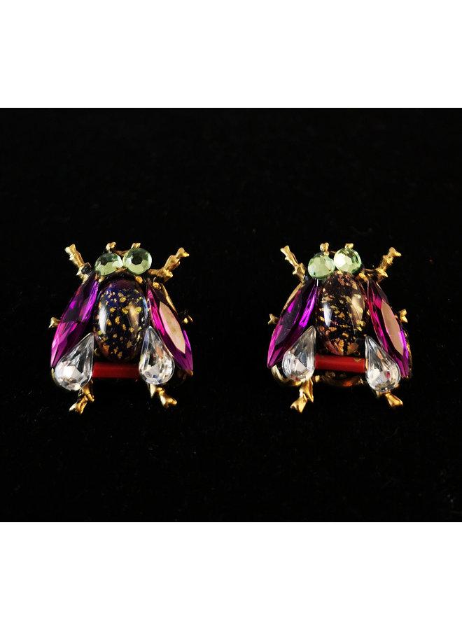 Purple Wing Bee stud Earrings 197