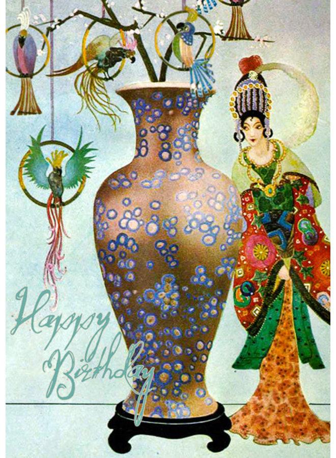 The Vase Happy Birthday Vintage  Card