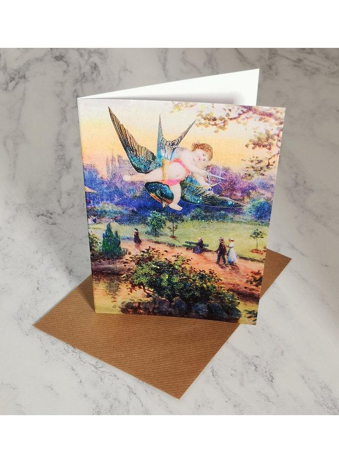 Cupid's Arrow Vintage Glitter Card  89