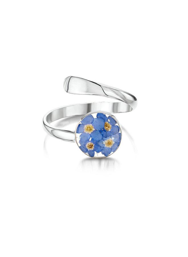 Ring rund verstellbares Vergissmeinnicht Silber