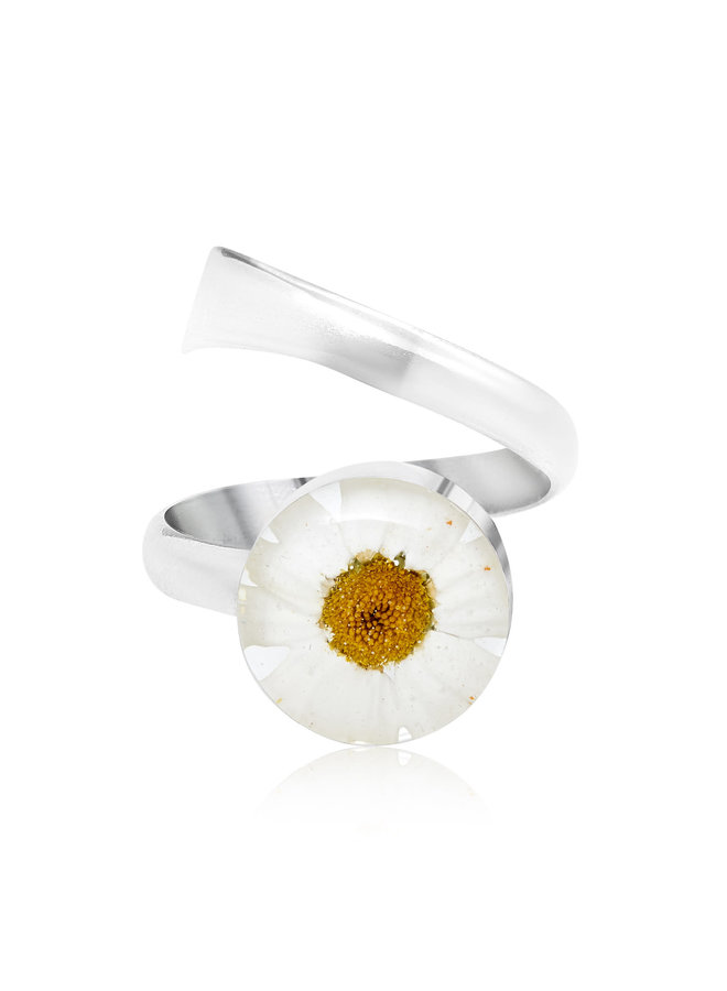 Daisy  round adjustable round ring  silver 136