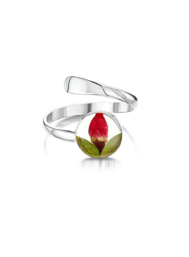 Rose  Bud round adjustable round ring  silver 135