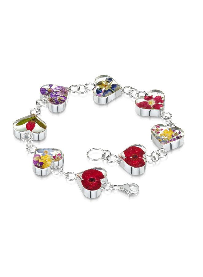 Herzen Mischblumenarmband Silber 138