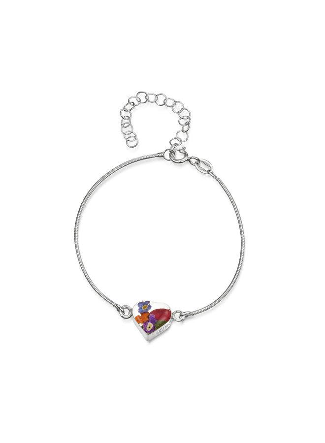 Heart  Mixed flower snake bracelet silver 139