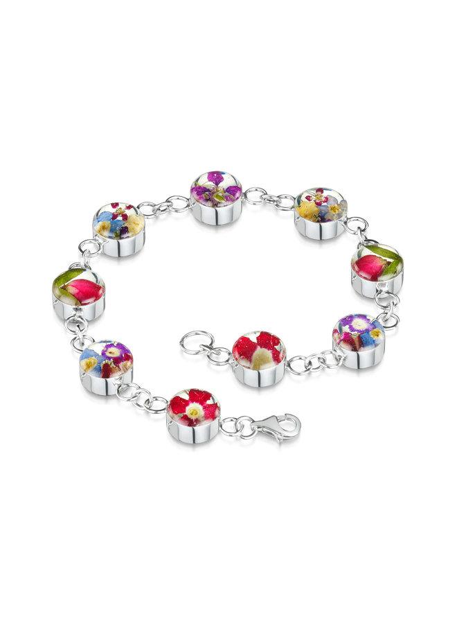 Mixed flower round bracelet silver 07