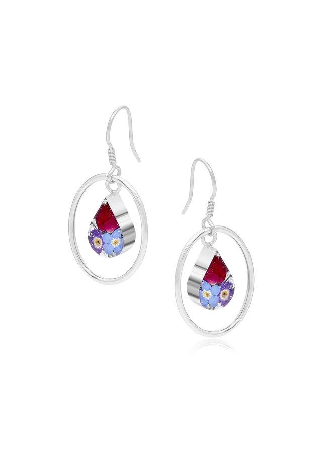 Mixed Flower Teardrop and Silver hoop earrings 142