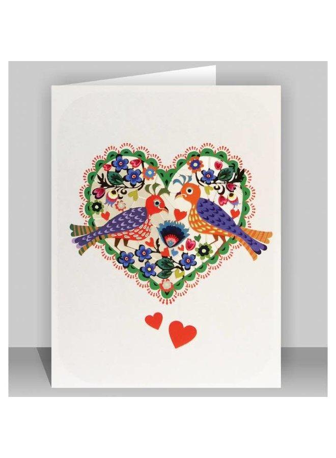 Birds in a Heart Folk Art Laser cut card