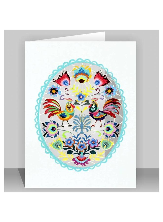 Chickens in an Oval Folk Art  Laser cut card