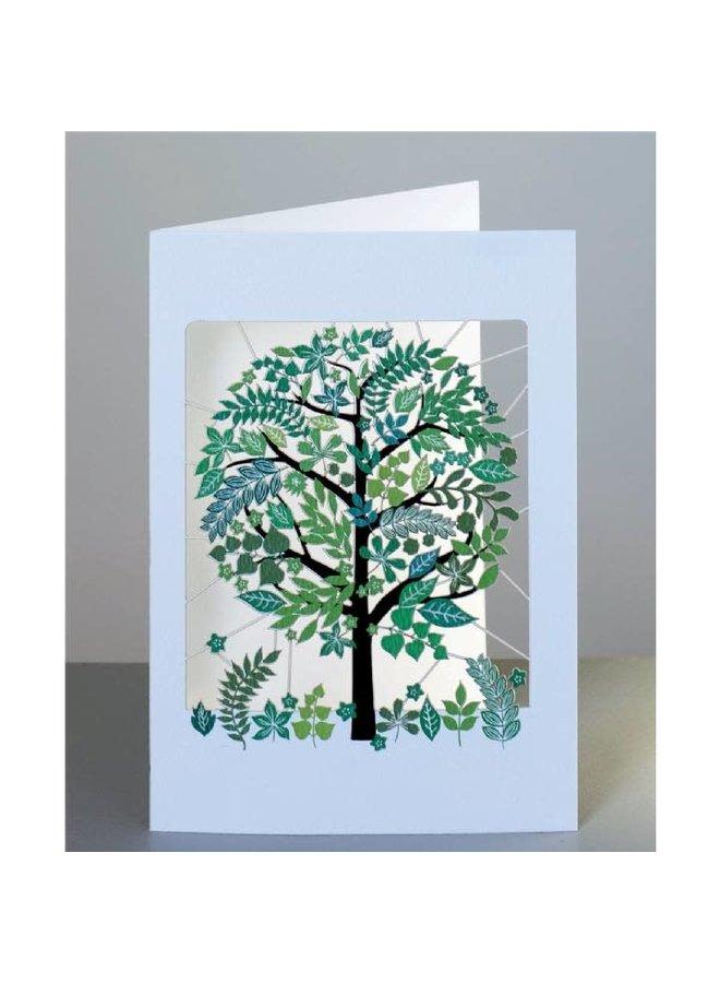 Green Trees, Pretty leaves Laser cut card