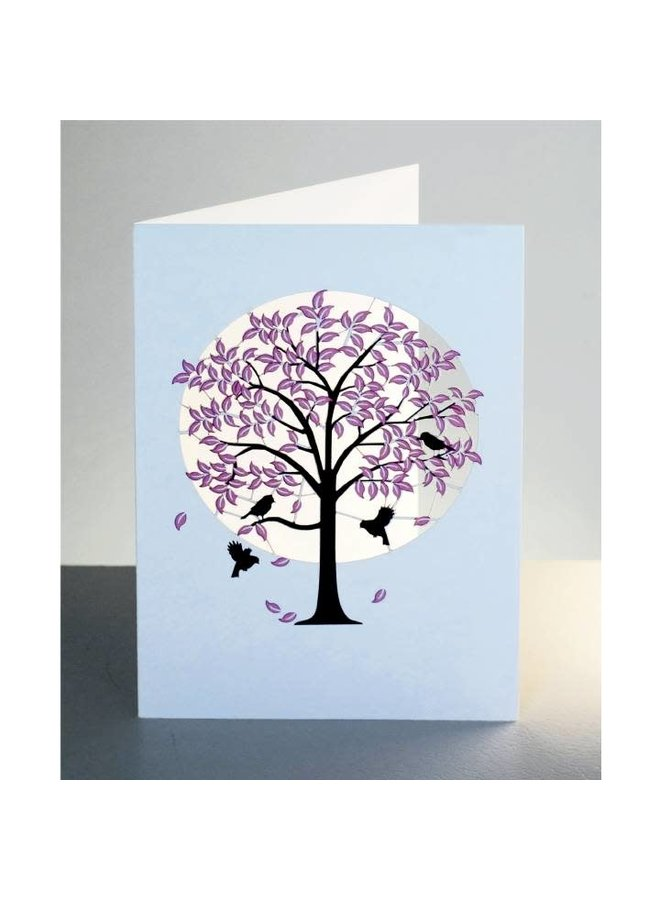 Pink Tree with Black Birds  Laser cut card