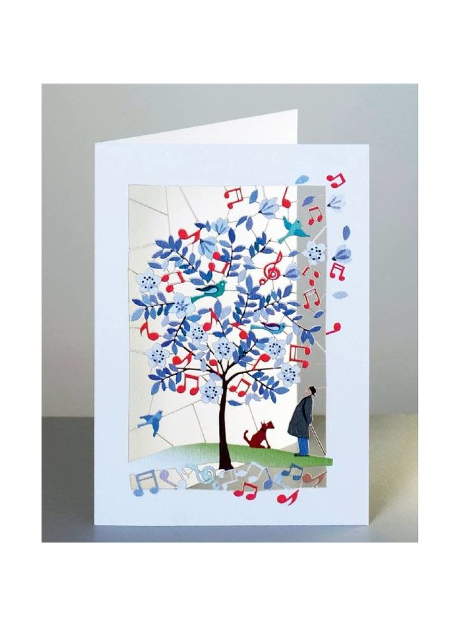 Tree with Music, Man and Dog Laser cut card