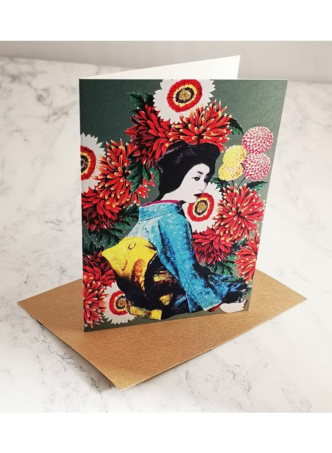 Geisha Vintage Glitter Card  100